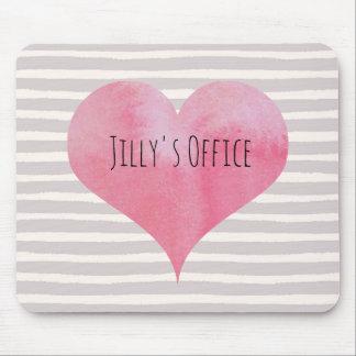 Mousepad Coração cor-de-rosa da aguarela de Jilly