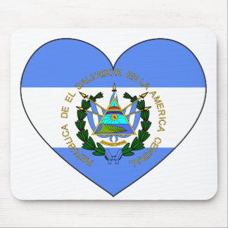 Mousepad Coração da bandeira de El Salvador
