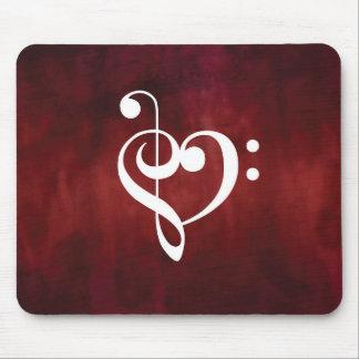Mousepad Coração do triplo vermelho do Grunge do vintage &
