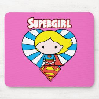 Mousepad Coração e logotipo de Chibi Supergirl Starburst