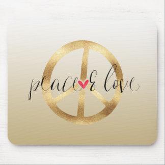 Mousepad Coração inspirado do sinal de paz do ouro