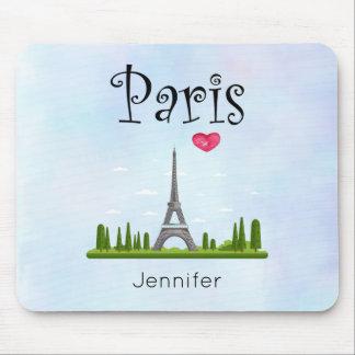 Mousepad Coração Paris com costume da torre Eiffel
