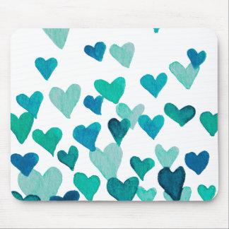 Mousepad Corações da aguarela do dia dos namorados -