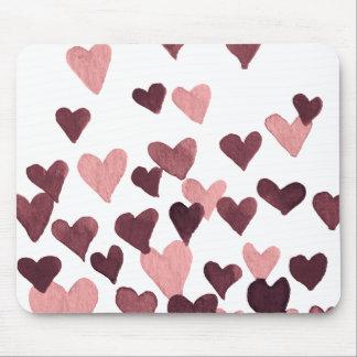 Mousepad Corações da aguarela do dia dos namorados - rosa