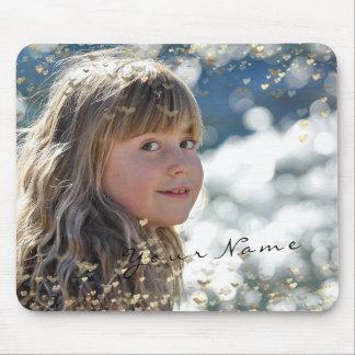 Mousepad Corações dourados dos confetes da foto nova da