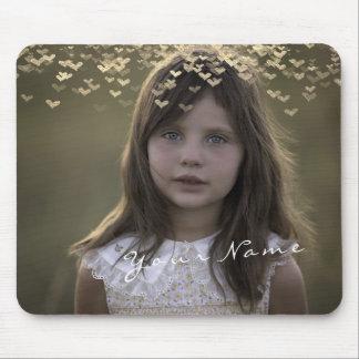 Mousepad Corações dourados dourados da foto feita sob