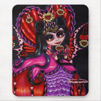 Mousepad Corações góticos & boneca feericamente da menina