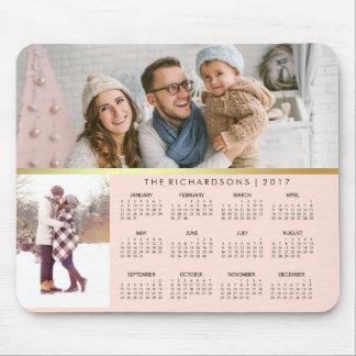 Mousepad Coram o rosa e o calendário 2017 da foto do ouro