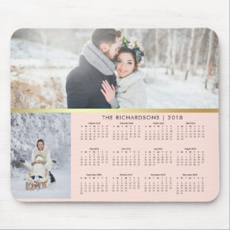 Mousepad Coram o rosa e o calendário 2018 da foto do ouro
