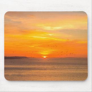 Mousepad Costa do por do sol com Sun alaranjado e pássaros