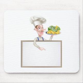 Mousepad Cozinheiro chefe que guardara o peixe com batatas