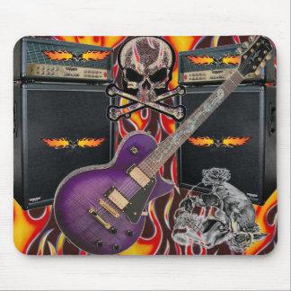 Mousepad Crânios flamejantes da guitarra roxa & ampère