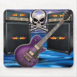 Mousepad Crânios flamejantes da guitarra roxa & oceano