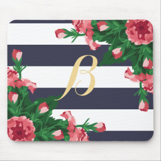 Mousepad Cravos & monograma cor-de-rosa das listras de