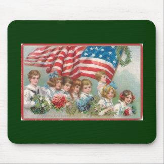 Mousepad Crianças americanas patrióticas do vintage