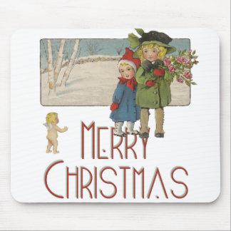 Mousepad Crianças do natal vintage e impressão da arte do