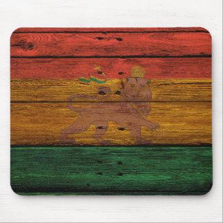 Mousepad crista do leão da reggae na textura de madeira