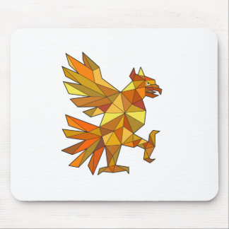 Mousepad Cuauhtli Glifo Eagle que luta o baixo polígono da