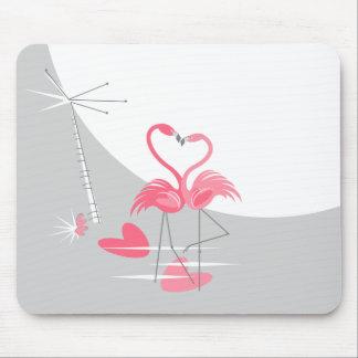 Mousepad da lua do amor do flamingo grande