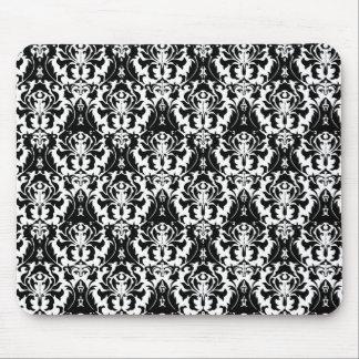 Mousepad Damasco preto & branco elegante