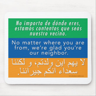 Mousepad Dê boas-vindas a seus vizinhos - árabe inglês
