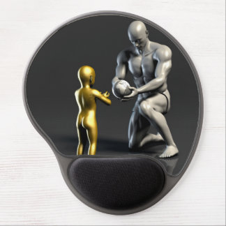Mousepad De Gel Criança de ensino do pai como um conceito em 3D