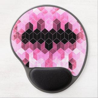 Mousepad De Gel Design geométrico cor-de-rosa & preto intenso