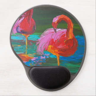 Mousepad De Gel Dois flamingos cor-de-rosa no lago verde