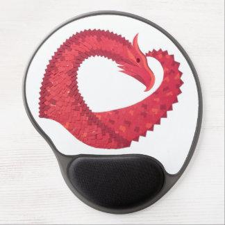 Mousepad De Gel Dragão vermelho do coração no branco