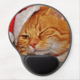Mousepad De Gel Gato alaranjado - gato de Papai Noel - Feliz Natal
