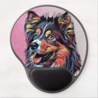 Mousepad De Gel Gel Mousepad da pintura do Sheepdog de Shetland