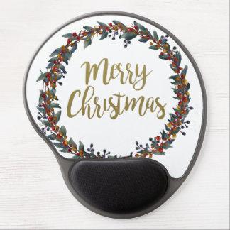 Mousepad De Gel Grinalda da aguarela - Feliz Natal - ramos