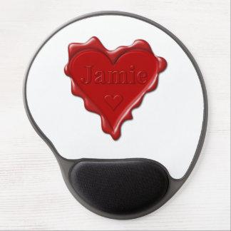 Mousepad De Gel Jamie. Selo vermelho da cera do coração com Jamie