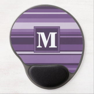 Mousepad De Gel Listras da lavanda do monograma