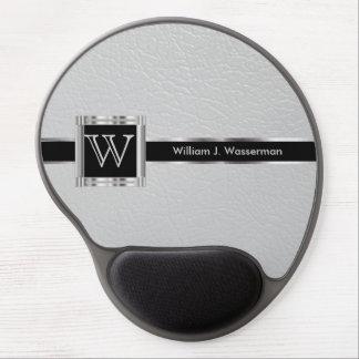 Mousepad De Gel Luz do monograma do gabinete executivo - couro