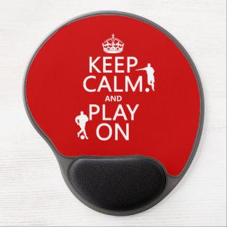 Mousepad De Gel Mantenha a calma e o jogo em (futebol/futebol)