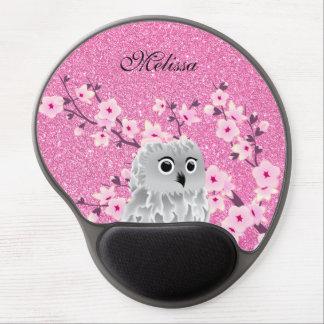 Mousepad De Gel O brilho do rosa da coruja e das flores de