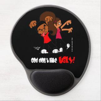 """Mousepad De Gel O """"deus não gosta FEIO!"""" Tapete do rato preto do"""