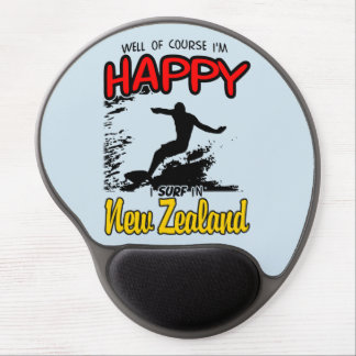 Mousepad De Gel Surfista feliz NOVA ZELÂNDIA (preto)
