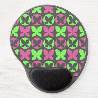 Mousepad De Gel Teste padrão de borboleta cinzento verde de néon