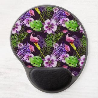 Mousepad De Gel Teste padrão tropical roxo preto da aguarela da