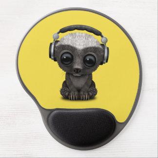 Mousepad De Gel Texugo de mel bonito DJ do bebê que veste fones de