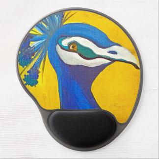 Mousepad De Gel Turquesa e pavão amarelo