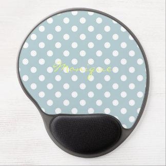 Mousepad De Gel turquesa pastel & pontos brancos com nome