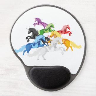 Mousepad De Gel Unicórnios selvagens coloridos da ilustração