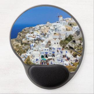 Mousepad De Gel Vila de Oia na ilha de Santorini, norte, piscina