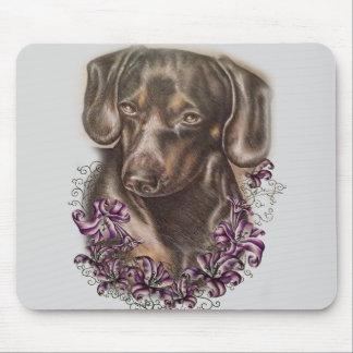 Mousepad Desenho da arte do cão e dos lírios do Dachshund