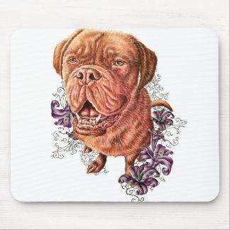 Mousepad Desenho da arte e dos lírios do cão do Mastiff de
