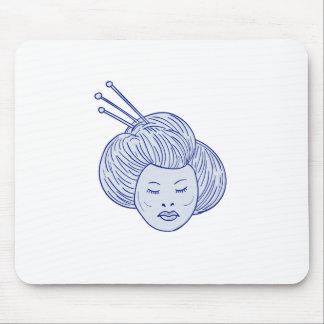 Mousepad Desenho da cabeça da menina de gueixa