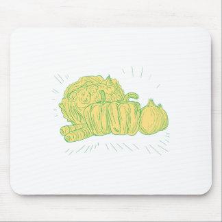 Mousepad Desenho da cebola do capsicum de Brocolli